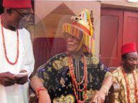 Igwe Kenneth Onyeneke Orizu III sitting on his throne