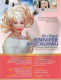 Jane Akachukwu Obituary poster