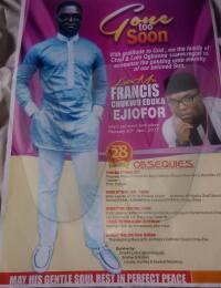 Ebuka Francis Ejiofor Obituary Poster 2