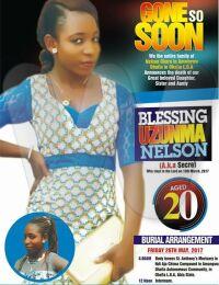 Blessing Uzumma Okoro Burial poster