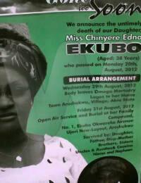 Chinyere Edna Ekubo burial poster