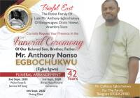 Anthony Nonso Egbochukwu - Obituary Banner