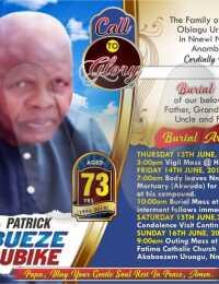 Patrick Chibueze Mmadubike -Obituary Banner