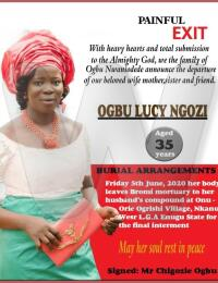 Ogbu Lucy Ngozi Obituary Banner